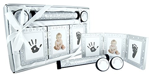 New Baby Unisex Boy Girl Gift 4 Piece Keepsake Set, First Curl Tooth Box, Birth Certificate Holder, Hand and Footprint Prints Kit, Brushed Silver White ()