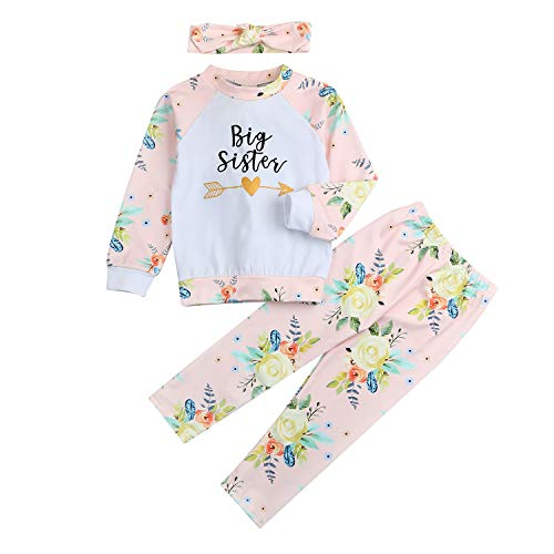 Newborn Infant Toddler Baby Girl Big Sister Little Sister Arrow Print Outfit 3 Pcs Long Sleeves Romper Top Floral Pants Headband Hat (4-5T, Big Sister)