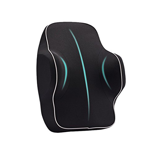 Anyshock Lumbar Support Pillow, Memory Foam Back Cushion Car Lumbar Pillow for Office Desk Chair Car Seat Ergonomic Design Adjust Sitting Position Relief Pain of Back/Spine (Lumbar Support-Black) by Anyshock