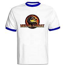 TIKE Men's Mortal Kombat Jurassic Style Short Sleeve Ringer Tshirts