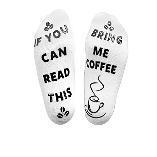 If You Can Read This Bring Me Coffee Socks (Coffee Black) - luxury funny silly socks for women, grandma, socks with words on bottom, coffee sayings, christmas gift socks for women