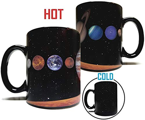 The Rising Sun Solar System Planets 11oz Color Changing Heat Sensitive Mug - Grade A Ceramic - Perfect Educational / Science / Fun Cool Mug Gift
