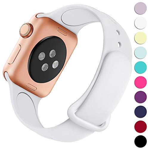 Haveda Bands Compatible with Apple Watch Band 42mm 44mm, Soft Silicone Sport Strap Wristband for Women Men with iWatch Series 4, Series 3, Series 2, Series 1, White, 42/44M/L