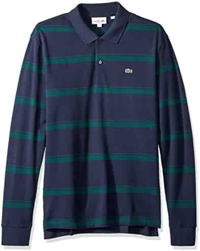 caf6eca74e2 Lacoste Men s Long Sleeve Reg Fit Pique Wide Stripe Polo