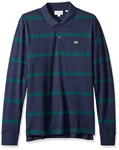 Lacoste Men's Long Sleeve Reg Fit Pique Wide Stripe Polo, Meridian Blue/Aconit, Large