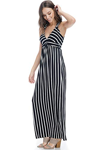 Stripe Print Racer Back Maxi Dress with Bra Cups (Stripe P Black/White-M)