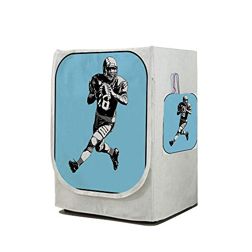 Price comparison product image Washing Machine Cover Waterproof Dust-proof Front Load Washer & Dryer Cover, Sports, American Football League Game Rugby Player Run Original Retro Illustration, Blue Black White, for Home Decoration