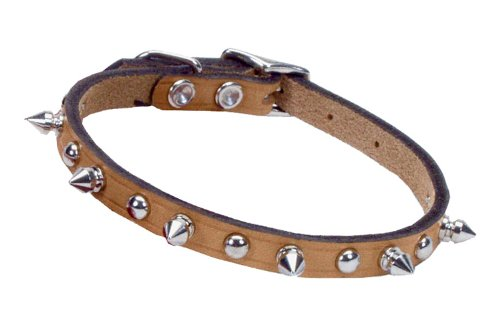 Coastal Circle T 5/8' Tan Spiked Leather Dog Collar - 16 in