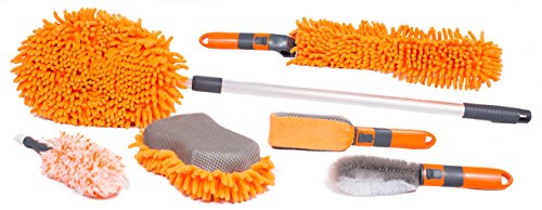 BirdRock Home Car Wash and Detailing Kit | Includes 6 pcs | Exterior and Interior Cleaning | Wheel Brush | Sponge | Duster | Extendable Cleaning Tool (Washing Kit For Car compare prices)