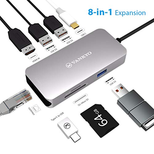 Gigabit Connection Ethernet A Extend (VANKYO USB C Hub, 8-in-1 USB C Adapter with 1Gbps Ethernet Port, 4K USB C to HDMI, 3 USB 3.0 Ports, SD/TF Card Reader and PD 2.0 Charging Port for MacBook Pro, ChromeBook, Samsung S9 with Mini Type C)