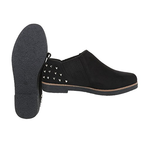 Ital-Design Women's Loafer Flats Block Heel Slippers Black swcFkpl