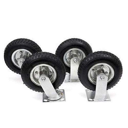 Bonebit 4 PCS 8'' Air Tire Pneumatic Heavy Duty Zinc Plated Wheels 2 Swivel Casters Cart
