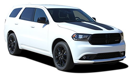 DURANGO PROPEL HOOD : 2011-2018 Dodge Durango Stripes Split Hood Vinyl Graphics Blackout Accents 3M Decal Kit (FITS ALL MODELS) (Color-3M 02 Gloss Black) Dodge Durango Vinyl