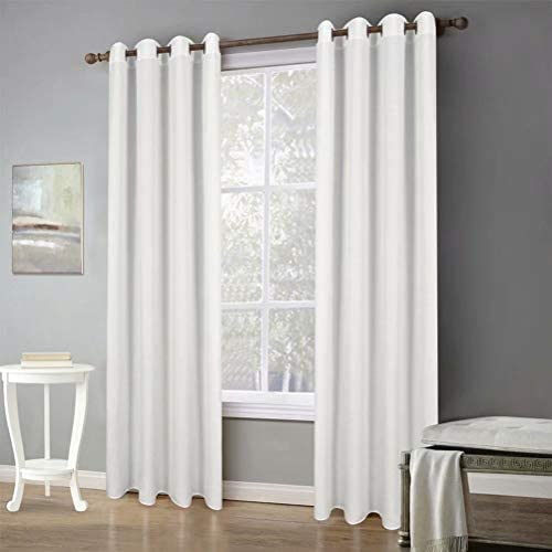 MvchennL 2 Panels Grommet Linen Textured Solid Sheer Curtain