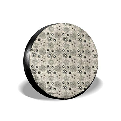 Bizwheo Vintage Style Garden Flower Sketches of Dahlia and Chrysanth Spare Tire Cover Protector Polyester Universal Spare Wheel Tire Covers]()