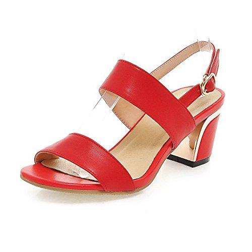 AllhqFashion Womens Kitten Heels Solid Buckle Open Toe Sandals Red