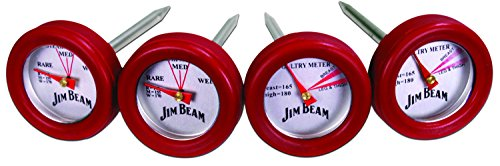 Jim Beam JB0134 2 Steak and 2 Poultry Barbecue Thermometer, One Size, Red