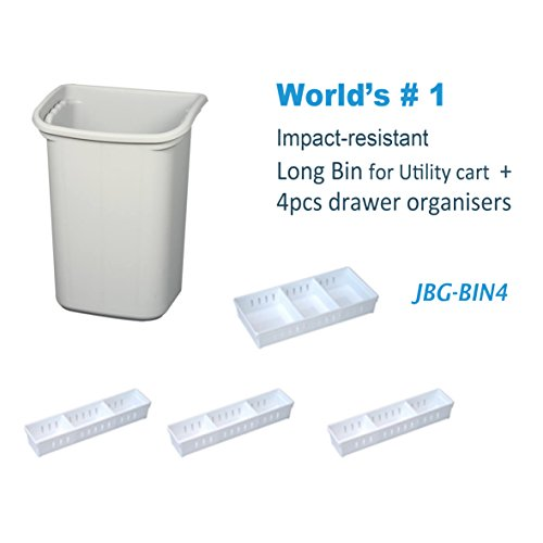 JaboEquip Commercial Hospital Waste Bins, Hotel Waste Buckets (Hang in The cart) with Drawer Organizer (Off-White) by JaboEquip