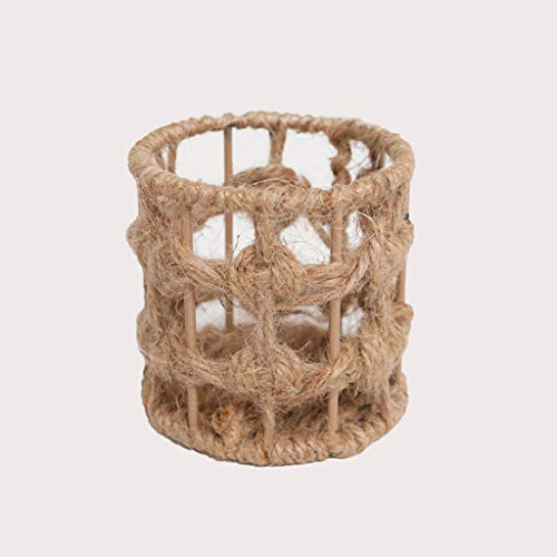 ASJHK Pastoral Style Creative Pen Holder Multi-Function Round Cosmetic Desktop Storage Box, Hemp Rope