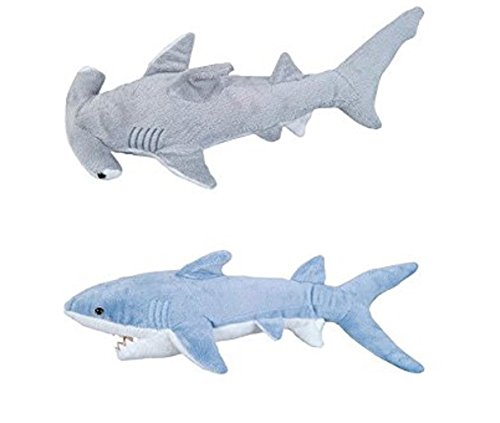 Adventure Planet - Set of 2 Plush SHARKS Mako and Hammerhead Shark - Stuffed Animal -Ocean Life - Soft Cuddly Shark Week Tank Toy, 14in. and 13in. set (Hammerhead Toy Plush Shark)