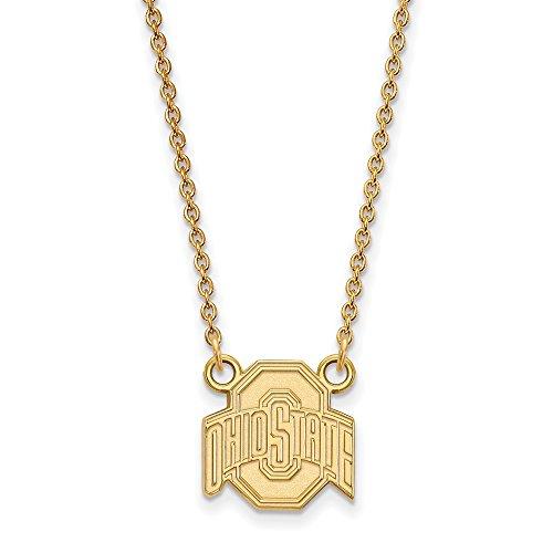 Roy Rose Jewelry 10K Yellow Gold LogoArt Ohio State University Small Pendant Necklace - Ohio State University Seal Pendant
