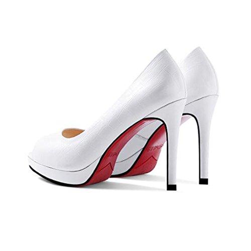 Sandals CJC High-Heeled Open Toe High Heels Thin High Heels Fish Mouth Fashion Sexy Elegant Women's Shoes White hcJPik