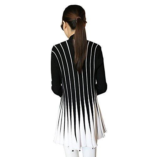 Longues Veste Cardigan Manches Manteau LAEMILIA Vintage Noir Tricot Femme Gilet Sweater Rayures qFx6ZX