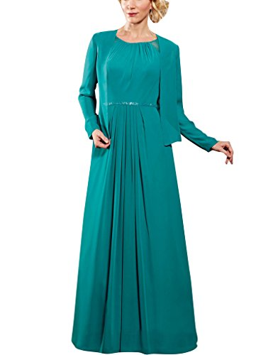 H.S.D Long Sleeves Chiffon Mother Of The Bride Dresses With Wrap Formal Gowns