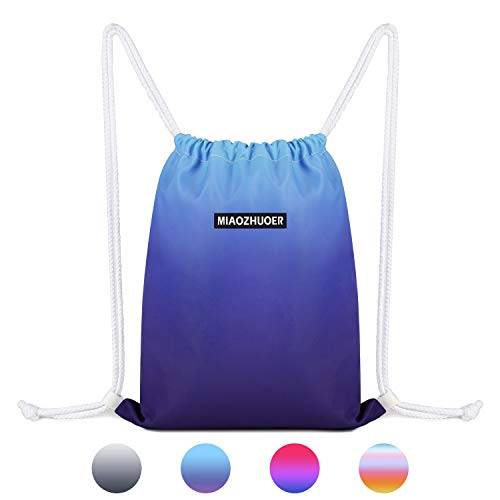 Drawstring Backpack String Bag Sackpack Cinch Water Resistant Nylon for Gym Shopping Sport Yoga by WANDF (Blue 6036)