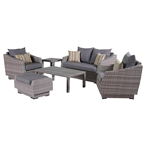 - RST Brands Cannes 6-Piece Loveseat Deep Seating Set with Cushions, Charcoal Grey