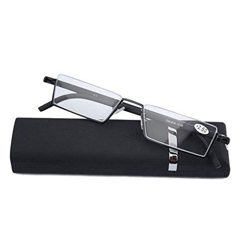 Lightweight Flexible Half Frame Reading Glasses Pocket Readers Portable Semi Rimless Eyeglasses Eyewear with Case for Men Women (Matt Black, 1.0 X)