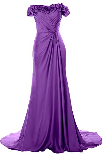 Dress Shoulder Amethyst 2018 Formal MACloth Off with Long Prom Women Flowers Gown Evening qpwFx0aR