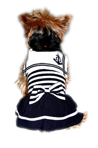 Anima Navy Blue Stripe Poly Cotton Sailor Dress, Small, My Pet Supplies