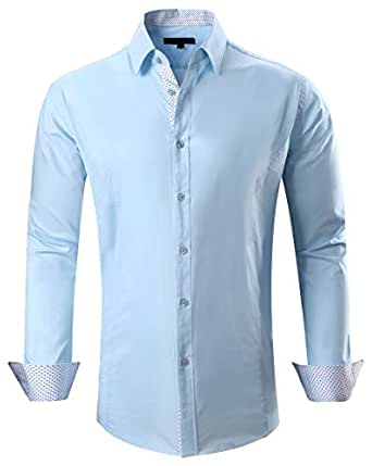 Esabel.C Mens Big and Tall Dress Shirts Long Sleeve Regular Fit Casual Button Down Shirt - Blue - XX-Large