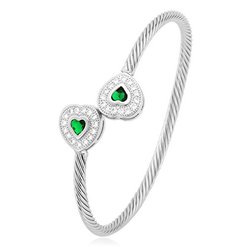 U7 4mm Solid Bangle Green Cubic Zirconia Heart End Platinum Plated Twisted Cuff ()