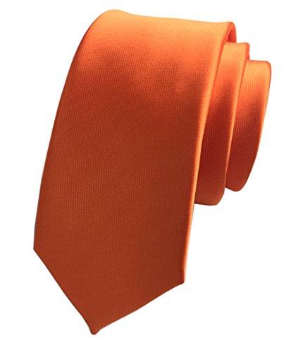 Secdtie Men's Big Boy Classic Orange Skinny Silk Tie Sunny Wedding Necktie (Orange Silk Narrow Ties)