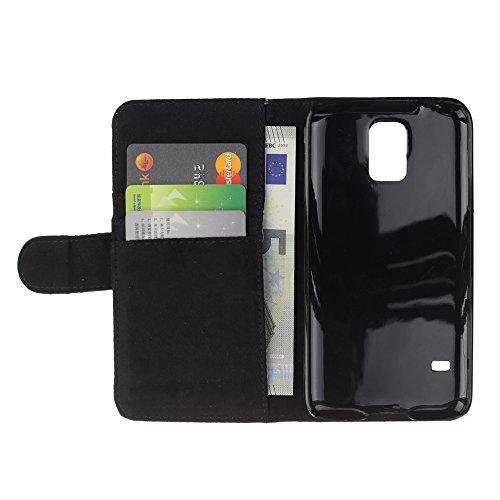 iKiki Tech / Flip PU Leather Case Cover - Sun Art Curly Hair Comb Morning Happy - Samsung Galaxy S5 SM-G900