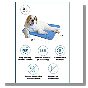 The Green Pet Shop Dog Cooling Mat- Patented Pressure-Activated Cool Gel Pad for Your Dogs and Pets - Help Your Pet Stay Cool This Summer - Chilled Relief to Avoid Overheating, Ideal for Home & Travel, X-Large