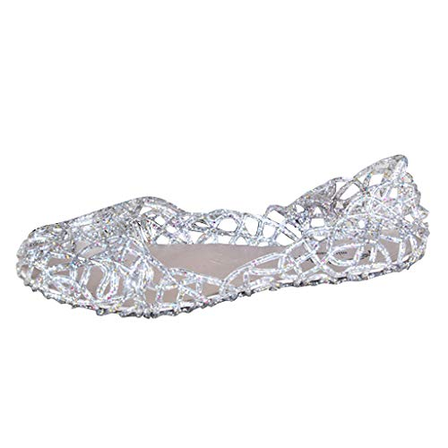 - Shusuen Women's Summer Beach Jelly Sandals Slip On Flats Hollow Out Casual Garden Shoes Breathable Bird Nest Pumps Silver