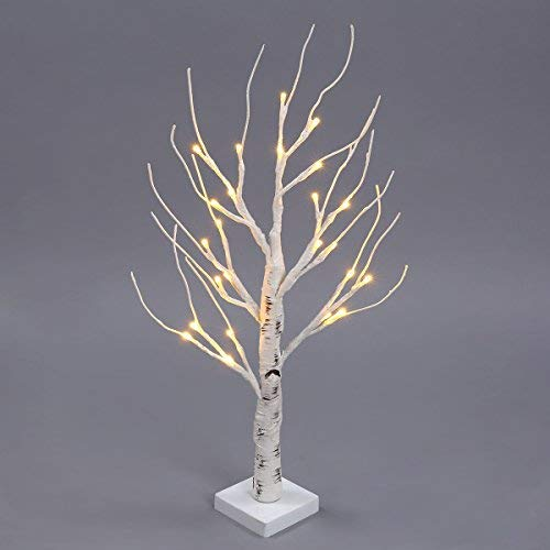 Excelvan Desk Lighted Tree Light, Decorative Flexible Creative Colorful Light, Perfect for Home Festival Party Wedding, Indoor & Outdoor Decoration (White Birch)]()