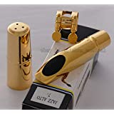 FidgetFidget TOP QUALTIY Gold Plated Jazz Alto Saxophone Metal Mouthpiece For Eb Sax Size 7