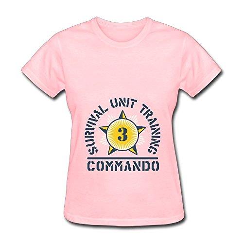 Commando T-shirt Unit - Women's Military Survival Unit Training Commando Forces Logo T-Shirts Pink