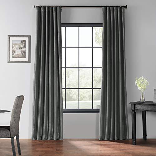 HPD Half Price Drapes PDCH-KBS41BO-108 Blackout Vintage Textured Faux Dupioni Silk Curtain, 50 X 108, Arrowhead Grey
