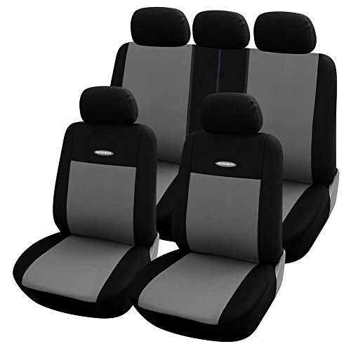 AUTOYOUTH 9PCS Concision Style Full Set Car Seat Covers, Rear Split, Sports Fabric Two Tone Colors(Black/Gray) Automotive Accessories Universal Fit for Most Car, SUV, (40 Split Rear Seat Covers)