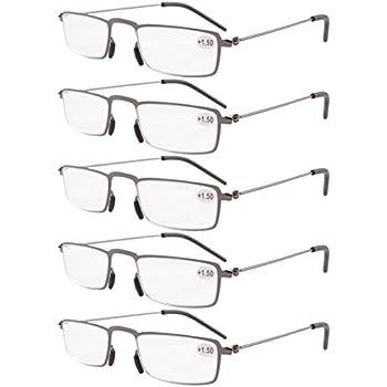 9dcd023aa1 Eyekepper 5-Pack Straight Thin Stamped Metal Frame Half-Eye Style Reading  Glasses Readers Gunmetal +2.75