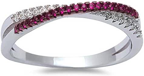 Simulated Ruby & Cubic Zirconia Infinity .925 Sterling Silver Ring Sizes 4-10