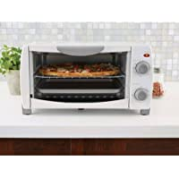 Mainstays 4-Slice White Toaster Oven with Dishwasher-Safe Rack & Pan (White)