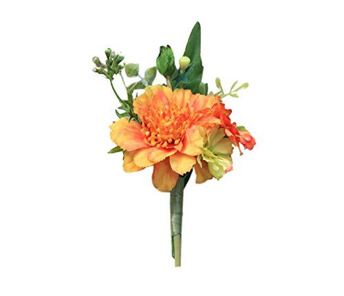 USIX 2pc Pack-Handmade Men's Lapel Artificial Windmill Orchid Flower Boutonniere Pin for Suit Wedding Groom Groomsmen Brooch Rose Boutonniere (Orange Boutonniere 2pcs) ()