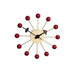 LCH Wooden Ball Clock, Handmade Antique Retro Classic Mid-Century Modern Wall Clock, Designed by George Nelson (Red)