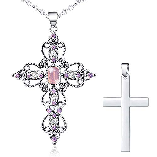 "Silver Cross Faith Pendant Necklace Crystal Christian Religous Jewelry for Women Girls Stainless Steel Chain 18"" with 2"" Extension (A_Pink)"